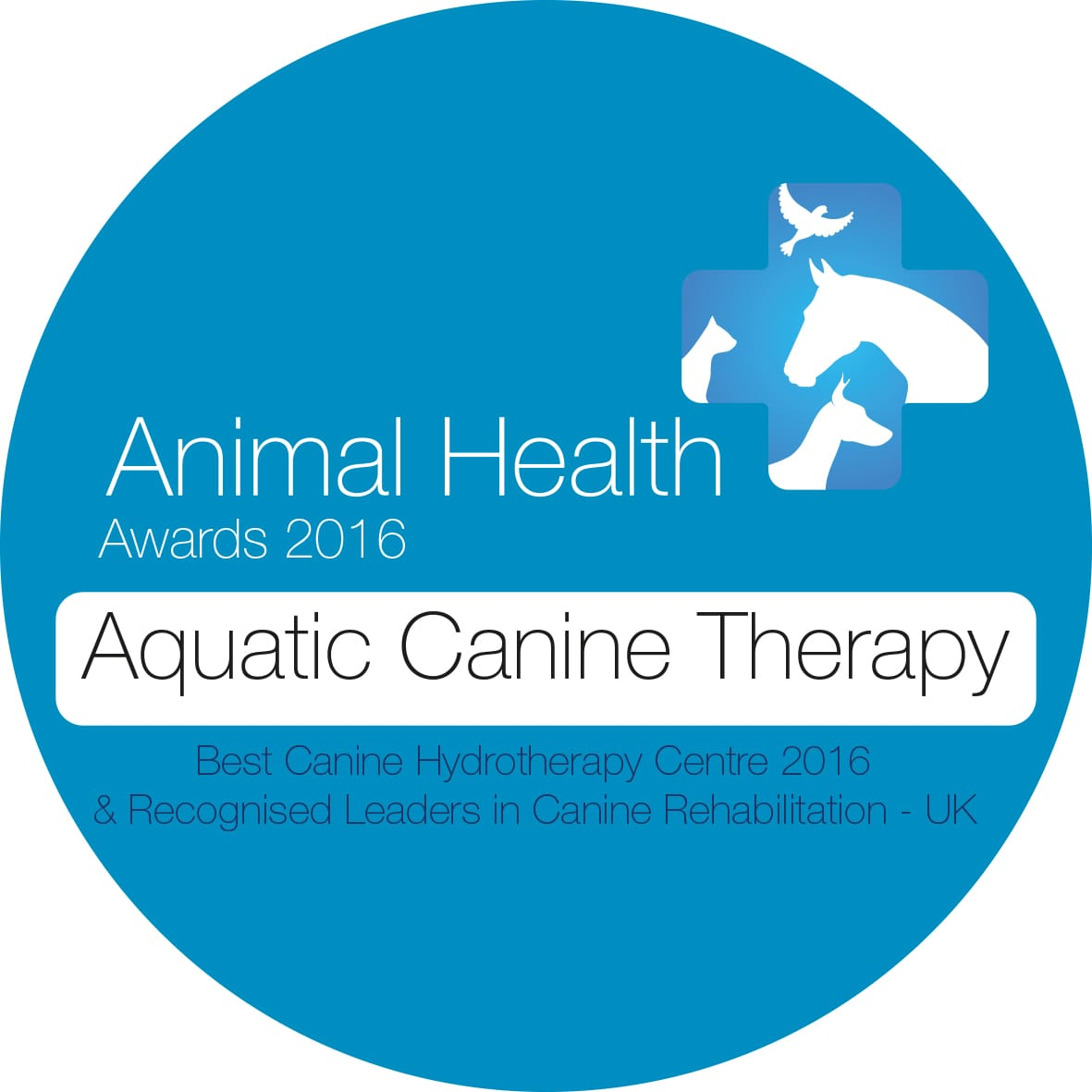 This is the animal health award 2016 for Aquatic Canine Therapy